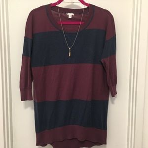 Sweater Top Striped 3/4 Length Sleeve
